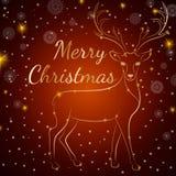 Cervos do ouro do Feliz Natal Fotografia de Stock Royalty Free