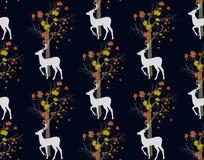 Cervos e árvore do veado Teste padrão sem emenda Foto de Stock Royalty Free