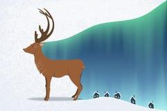Cervos e aurora boreal ilustração royalty free