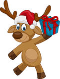 Cervos felizes dos desenhos animados que guardam o presente Imagem de Stock Royalty Free