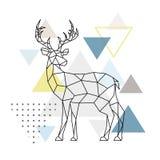 Cervos geométricos abstratos Vista lateral ilustração stock