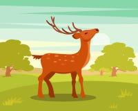 Cervos manchados graciosos de Brown com chifres ramificados, o animal selvagem entre um contexto do prado verde e o vetor da flor ilustração royalty free