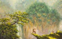 Cervos na borda de um penhasco em uma floresta da montanha ilustração do vetor