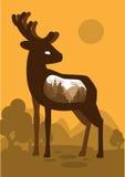 Cervos no fundo da floresta com uma representação abstrata do mundo Vetor Fotos de Stock