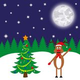 Cervos perto da árvore do ano novo ilustração royalty free