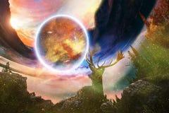 Cervos sonhadores artísticos do sumário que olham em um outro mundo em alguma outra dimensão ilustração stock