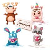 Cervos, unicórnio, coelho, guaxinim - animais ajustados ilustração royalty free