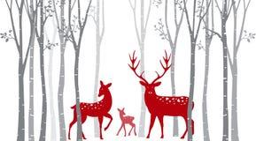 Cervos vermelhos do Natal com árvore de vidoeiro ilustração stock