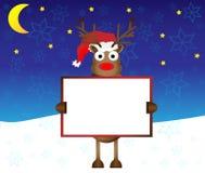 Cervos vermelhos felizes da rena do nariz que prendem o papel em branco ilustração stock