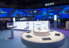 CES 2014. LAS VEGAS - JANUARY 10 : The Sony booth at the CES show held in Las Vegas on January 10 2014 , CES is the world's leading consumer-electronics show and Stock Photo