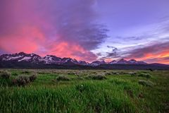 Ces belles montagnes de dent de scie au-dessus du champ herbeux image libre de droits