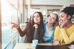 Ces filles bavardent juste se reposant à la table en café et parlant au sujet d'un autre homme Des jeunes femmes sont stupéfiées  Photo libre de droits