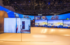 CES 2015. LAS VEGAS - JAN 09 : The Sony booth at the CES show held in Las Vegas on January 09 2015 , CES is the world's leading consumer-electronics show Stock Photography