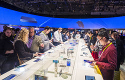 CES 2015. LAS VEGAS - JAN 09 : The Sony booth at the CES show held in Las Vegas on January 09 2015 , CES is the world's leading consumer-electronics show Royalty Free Stock Image