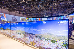 CES 2015. LAS VEGAS - JAN 09 : The Sony booth at the CES show held in Las Vegas on January 09 2015 , CES is the world's leading consumer-electronics show Royalty Free Stock Photography