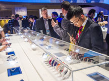 CES 2015. LAS VEGAS - JAN 09 : The Sony booth at the CES show held in Las Vegas on January 09 2015 , CES is the world's leading consumer-electronics show in the Stock Image