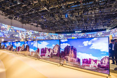 CES 2015. LAS VEGAS - JAN 09 : The Sony booth at the CES show held in Las Vegas on January 09 2015 , CES is the world's leading consumer-electronics show Stock Photo