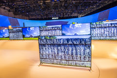 CES 2015. LAS VEGAS - JAN 09 : The Sony booth at the CES show held in Las Vegas on January 09 2015 , CES is the world's leading consumer-electronics show royalty free stock photo