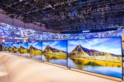 CES 2015. LAS VEGAS - JAN 09 : The Sony booth at the CES show held in Las Vegas on January 09 2015 , CES is the world's leading consumer-electronics show Stock Image