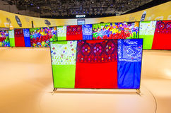 CES 2015. LAS VEGAS - JAN 09 : The Sony booth at the CES show held in Las Vegas on January 09 2015 , CES is the world's leading consumer-electronics show Royalty Free Stock Photos