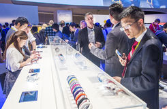 CES 2015. LAS VEGAS - JAN 09 : The Sony booth at the CES show held in Las Vegas on January 09 2015 , CES is the world's leading consumer-electronics show stock photos