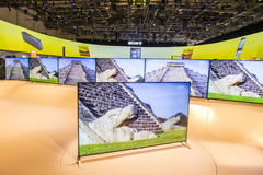 CES 2015. LAS VEGAS - JAN 09 : The Sony booth at the CES show held in Las Vegas on January 09 2015 , CES is the world's leading consumer-electronics show Royalty Free Stock Images