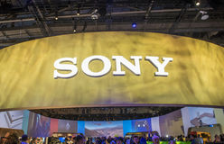 CES 2016. LAS VEGAS - JAN 06 : The Sony booth at the CES show held in Las Vegas on January 06 2016 , CES is the world's leading consumer-electronics show Royalty Free Stock Image