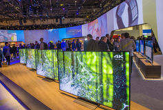 CES 2016. LAS VEGAS - JAN 08 : The Sony booth at the CES show held in Las Vegas on January 08 2016 , CES is the world's leading consumer-electronics show Royalty Free Stock Photos