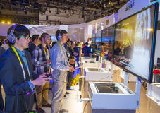 CES 2016. LAS VEGAS - JAN 08 : The Sony booth at the CES show held in Las Vegas on January 08 2016 , CES is the world's leading consumer-electronics show Stock Images