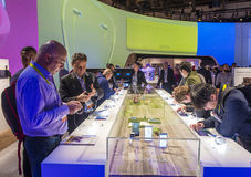 CES 2016. LAS VEGAS - JAN 08 : The Sony booth at the CES show held in Las Vegas on January 08 2016 , CES is the world's leading consumer-electronics show Stock Photos
