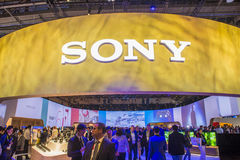 CES 2016. LAS VEGAS - JAN 08 : The Sony booth at the CES show held in Las Vegas on January 08 2016 , CES is the world's leading consumer-electronics show Royalty Free Stock Photography