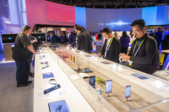 CES 2016. LAS VEGAS - JAN 06 : The Sony booth at the CES show held in Las Vegas on January 06 2016 , CES is the world's leading consumer-electronics show Royalty Free Stock Images