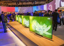CES 2016. LAS VEGAS - JAN 08 : The Sony booth at the CES show held in Las Vegas on January 08 2016 , CES is the world's leading consumer-electronics show Stock Image