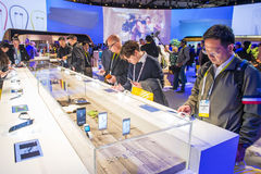 CES 2016. LAS VEGAS - JAN 08 : The Sony booth at the CES show held in Las Vegas on January 08 2016 , CES is the world's leading consumer-electronics show Stock Photo