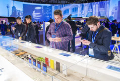 CES 2016. LAS VEGAS - JAN 08 : The Sony booth at the CES show held in Las Vegas on January 08 2016 , CES is the world's leading consumer-electronics show Royalty Free Stock Images