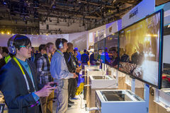 CES 2016. LAS VEGAS - JAN 08 : The Sony booth at the CES show held in Las Vegas on January 08 2016 , CES is the world's leading consumer-electronics show Royalty Free Stock Image