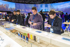 CES 2016. LAS VEGAS - JAN 08 : The Sony booth at the CES show held in Las Vegas on January 08 2016 , CES is the world's leading consumer-electronics show Royalty Free Stock Photo