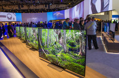 CES 2016. LAS VEGAS - JAN 06 : The Sony booth at the CES show held in Las Vegas on January 06 2016 , CES is the world's leading consumer-electronics show Stock Photo