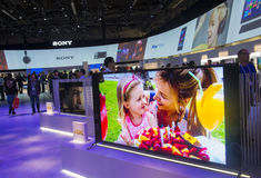 CES 2014. LAS VEGAS - JANUARY 10 : The Sony booth at the CES show held in Las Vegas on January 10 2014 , CES is the world's leading consumer-electronics show and royalty free stock image