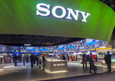 CES 2014. LAS VEGAS - JANUARY 10 : The Sony booth at the CES show held in Las Vegas on January 10 2014 , CES is the world's leading consumer-electronics show and stock photos