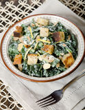 Cesar Almond Crouton Salad. With fork Stock Photos
