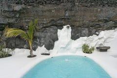 Cesar Marique Foundation, Lanzarote. Pool in Cesar Marique Foundation in Tahiche, Lanzarote, Canary Islands. Spain Stock Image