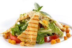 Cesar salad. With grilled chicken Royalty Free Stock Images