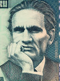 Cesar Vallejo. On 10000 Indis 1988 Banknote from Peru. Famous Peruvian poet Royalty Free Stock Image