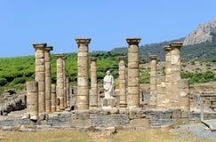 Cesarz Trajan w archeologicznym miejscu Baelo Claudia, Tarifa, prowincja CÃ ¡ diz, Hiszpania obrazy stock