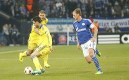 Cesc Fàbregas and Benedikt Höwedes FC Schalke v FC Chelsea 8eme Final Champion League Royalty Free Stock Image