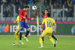 Cesc Fabregas header. Francesc Cesc Fabregas Soler midfielder of the Spanish National Football Team, pictured during the friendly match between Romania and Spain stock images