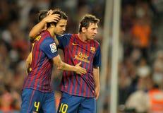 Cesc Fabregas and Leo Messi stock image