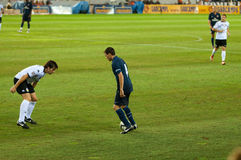 Cesc Fabregas (right) plays against David Albelda (left) Stock Photography