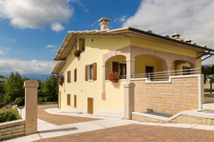 Cescatto, Italy - August 22, 2017: House With Patio From The Mountain Village Of Italy. Stock Photography